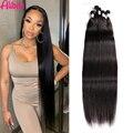 Alibele Long Straight Hair Bundles 26 28 30 Inch Human Hair 1 3 4 Bundles Natural Color 100% Brazilian Human Hair Weave Bundles