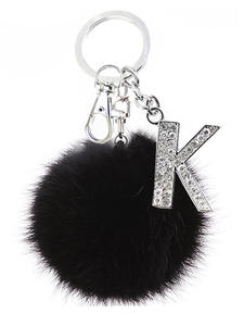 Keychains Bag-Accessories Key-Rings Jewelry Pompom Crystal Letters Gift Faux-Rabbit-Fur-Ball