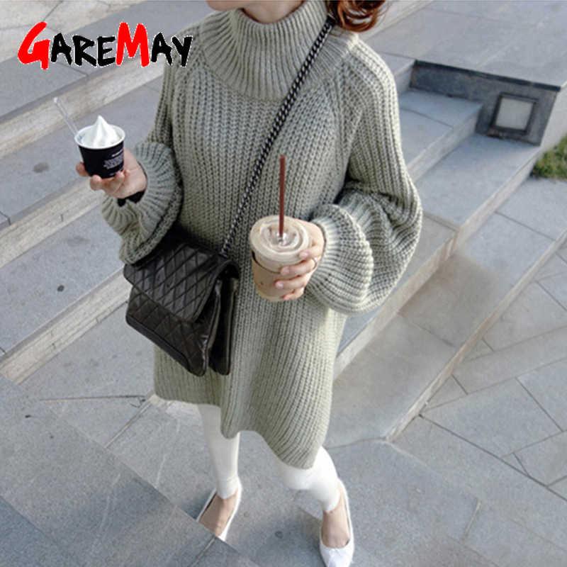 GareMay automne hiver tricoté pull robe femmes chaud col roulé sexy lâche enceinte maxi grande taille femme dames longs chandails