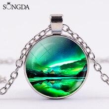 Marvellous Green Aurora Borealis Necklace Art Picture Glass Cabochon Pendant Necklace Women Gift Galaxy Universe Jewelry