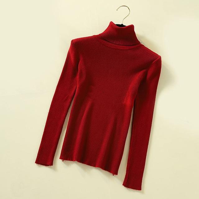 Lucyever Turtleneck Women Knitted Pullovers Sweater Fashion Autumn Winter Soft Jumper Korean Slim Long Sleeve Girls Basic Tops 10