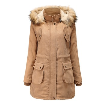Free DHL/UPS/Fedex New Womens Woolen Coat Corduroy Plush Winter Cotton Thickened Warm