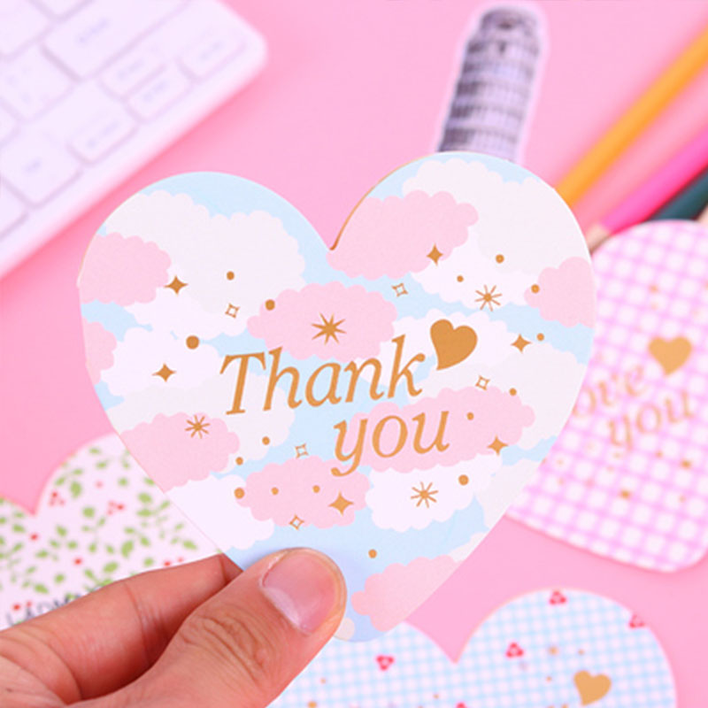 Creative Heart Shape Greeting Card Clear Envelope Cute Birthday Party Greeting Card Thank You Cards Student Stationery