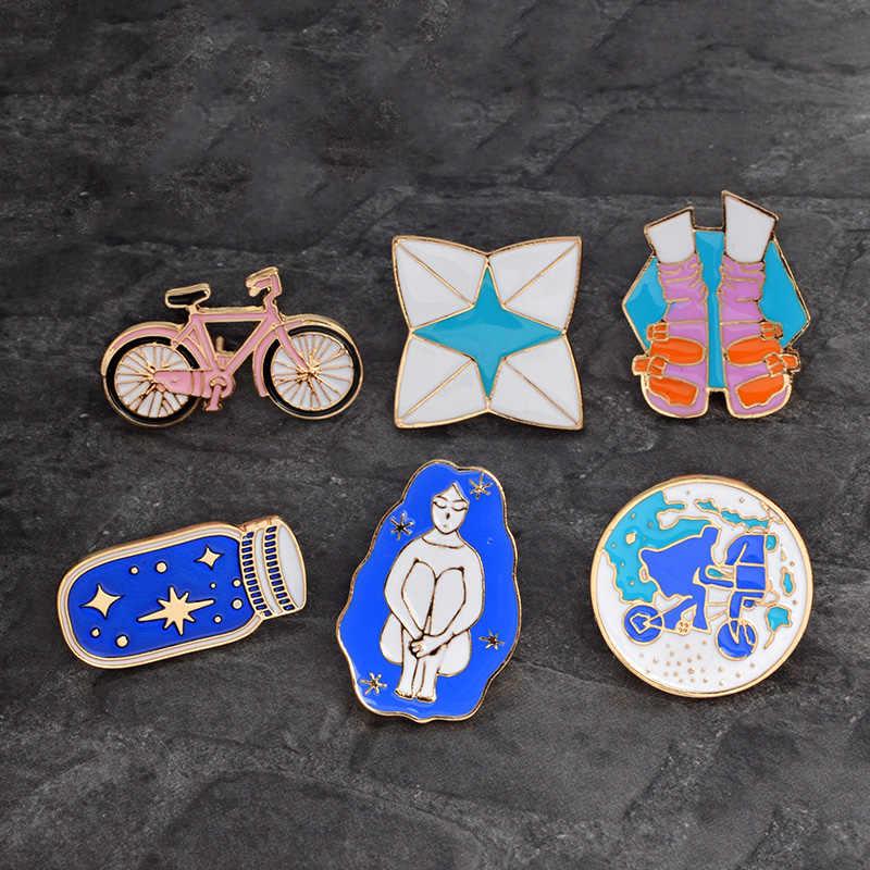 Fantasi Masa Kanak-kanak Kerah Pin Logam Gadis Remaja Botol Sepeda Bros Lencana Ransel Pin Perhiasan Hadiah untuk Teman