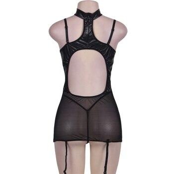 Women Sexy Faux Leather lingerie bodysuit PVC wetlook latex catsuit erotic Wear Pole Dance nightwear Hot fetish Mesh Clubwear 6