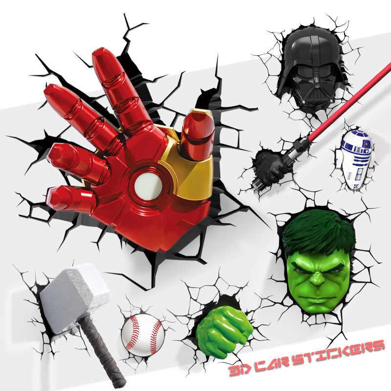 3D Dán Tường Trang Trí Nhà Cửa Trang Trí Siêu Anh Hùng Marvel/DC Đề Can Vỡ Miếng Dán Iron Man/Người Nhện/Batman Sáng Tạo miếng Dán Kính Cường Lực