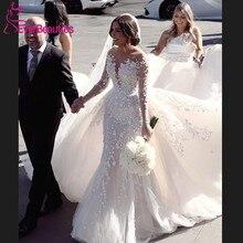 Vestido De Noiva Luxury Long Sleeves Wedding Dresses 2020 Detachable Long Train Tulle Lace Appliques Bridal Wedding Gown