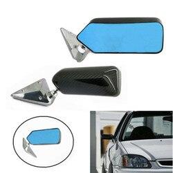 F1 styl z włókna węglowego lusterko boczne niebieskie lusterko wsteczne z wspornik metalowy prawdziwe osłona z włókna węglowego uniwersalny montaż lewego prawego 2 sztuk