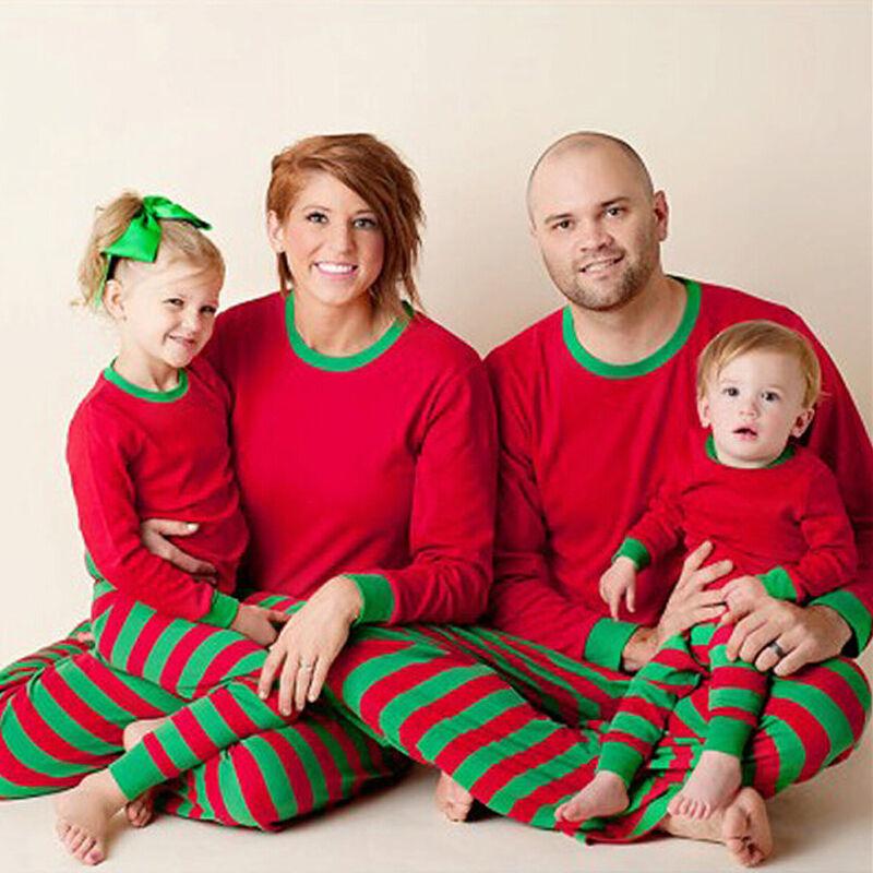 Pudcoco Christmas Pajama Sets Toddler Kids Baby Boy Girls Outfits Solid T Shirt Striped Pants Pajamas Sleepwear Set