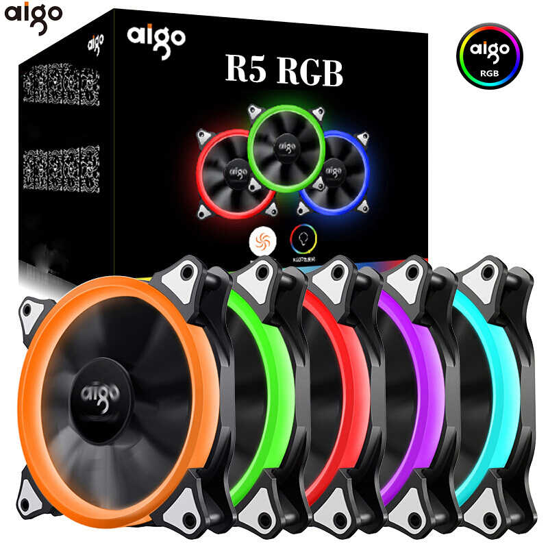 Aigo 120 Mm Fan PC Case Fan Cooler Adjustable Aurora LED RGB Komputer Cooling Fan 12V Bisu Ventilador PC case Fan untuk Komputer