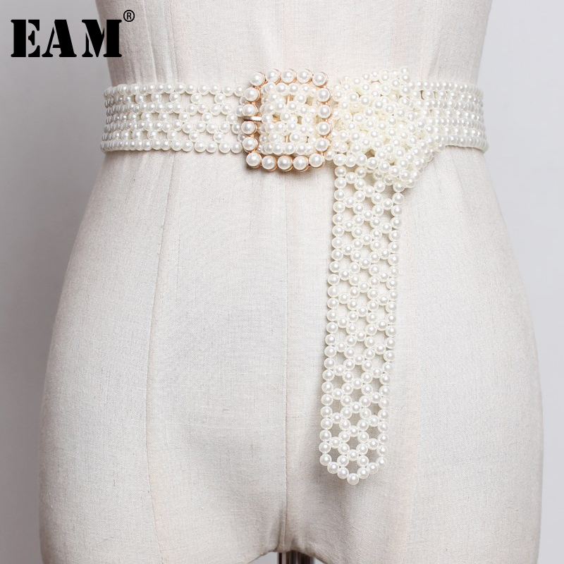 [EAM]  Pearls Square Buckle Hollow Out Long Wide Belt Personality Women New Fashion Tide All-match Spring Autumn 2020 1A850