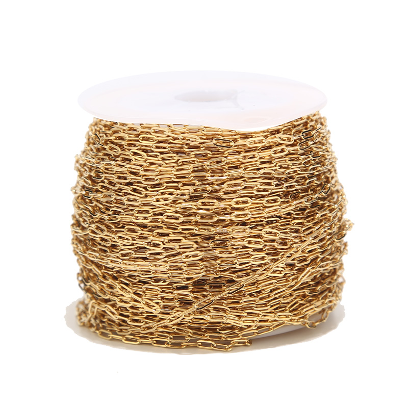 2 Meters Gold Tone 1.7mm Width Rolo Cable Chain Stainless Steel Gold Link Chain For Necklace Making
