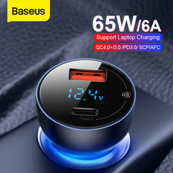 Baseus 65W Car Charger Dual USB Quick Charge 4.0 3.0 USB Car Charger for Huawei SCP QC4.0 QC3.0 Fast Charging Charger For iPhone