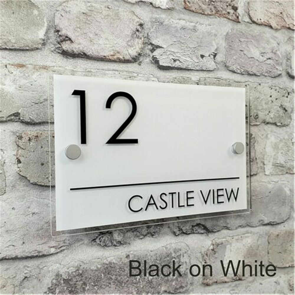 Contemporary Door Sign Plaque Door Number Personalised Name Plate EMA4-13W-A