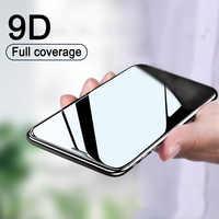 Vidrio protector de borde curvado 9D en El para iPhone 7 8 6 6S Plus X XR XS Max templado protector de pantalla para iPhone 11 Pro Max glass