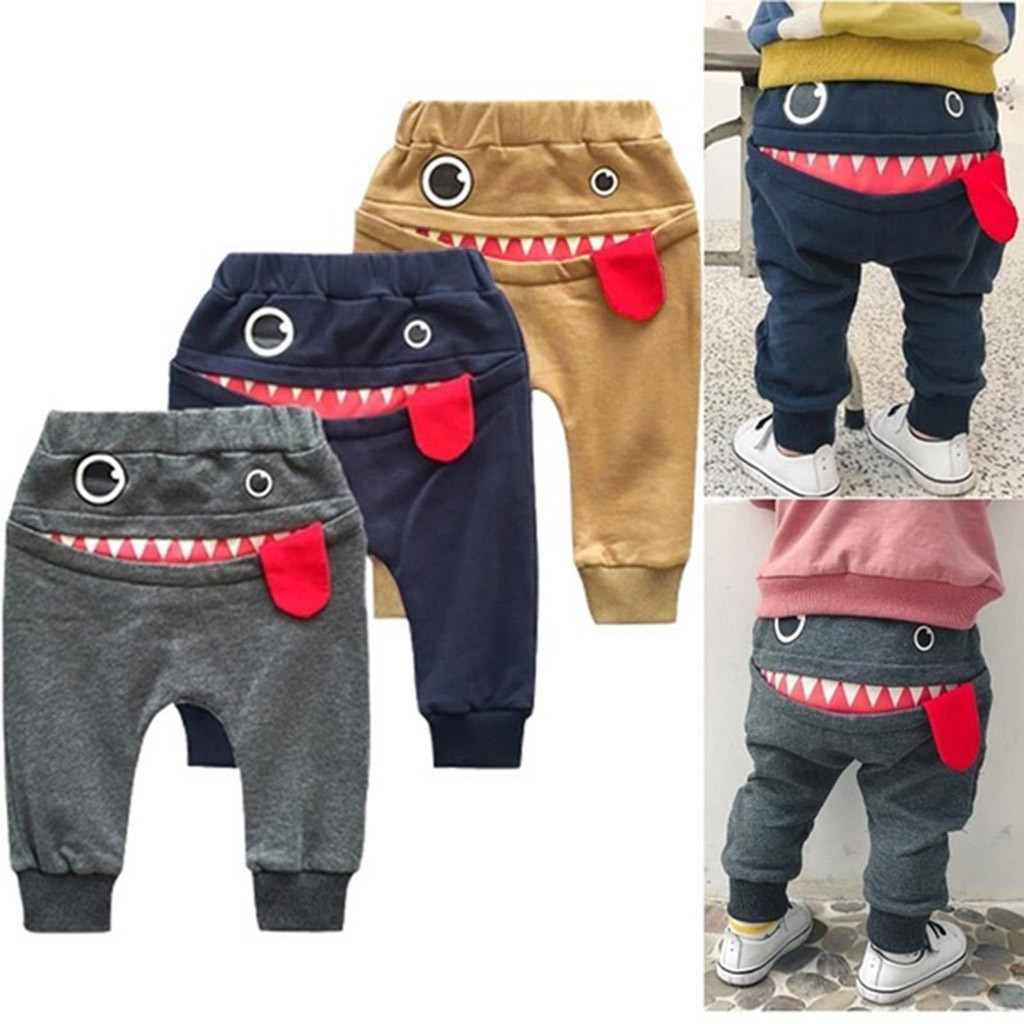 Baby Children Kids Boys Girls Cartoon Shark Tongue Harem Pants Trousers Pants boys clothes ropa bebe