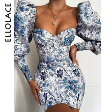 Ellolace Floral Print Elegant Mini Dress Women Bodycon Puff Sleeve Blue Chinese Female Party 2019 New Autumn Winter