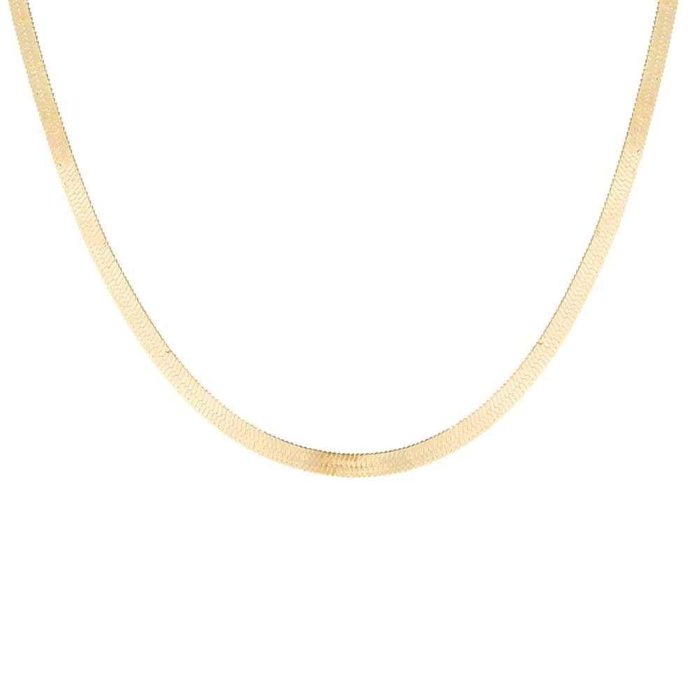 Altın bıçak zincir gerdanlık kolye kadınlar seksi düz yılan zincir hediye XL222