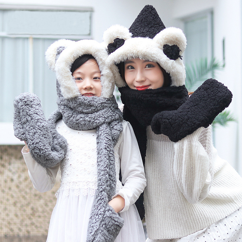 COKK Cute Animal Knitted Hat With Scarf For Women Kids Fox Ear Plush Thick Warm Beanie Hat Set Windproof Ear Protect
