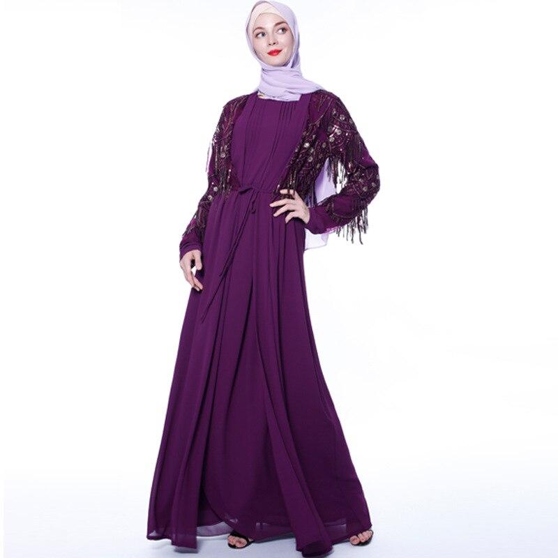 Luxury Muslim Sequins Abaya Tassels Full Dresses Cardigan Kimono Long Robe Gowns Jubah Middle East Ramadan Eid Arab Islamic
