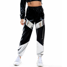 Women Reflective Long Pants with Pockets High Waist Loose Holographic Patchwork Trousers Club Dance Jogger Pants Clubwear