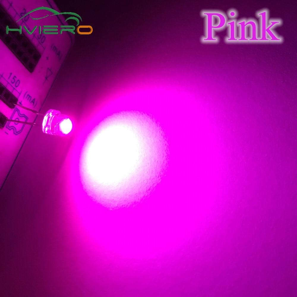 100pcs F5 5mm Pink Straw Hat Superbright LED Light LED lamp NEW