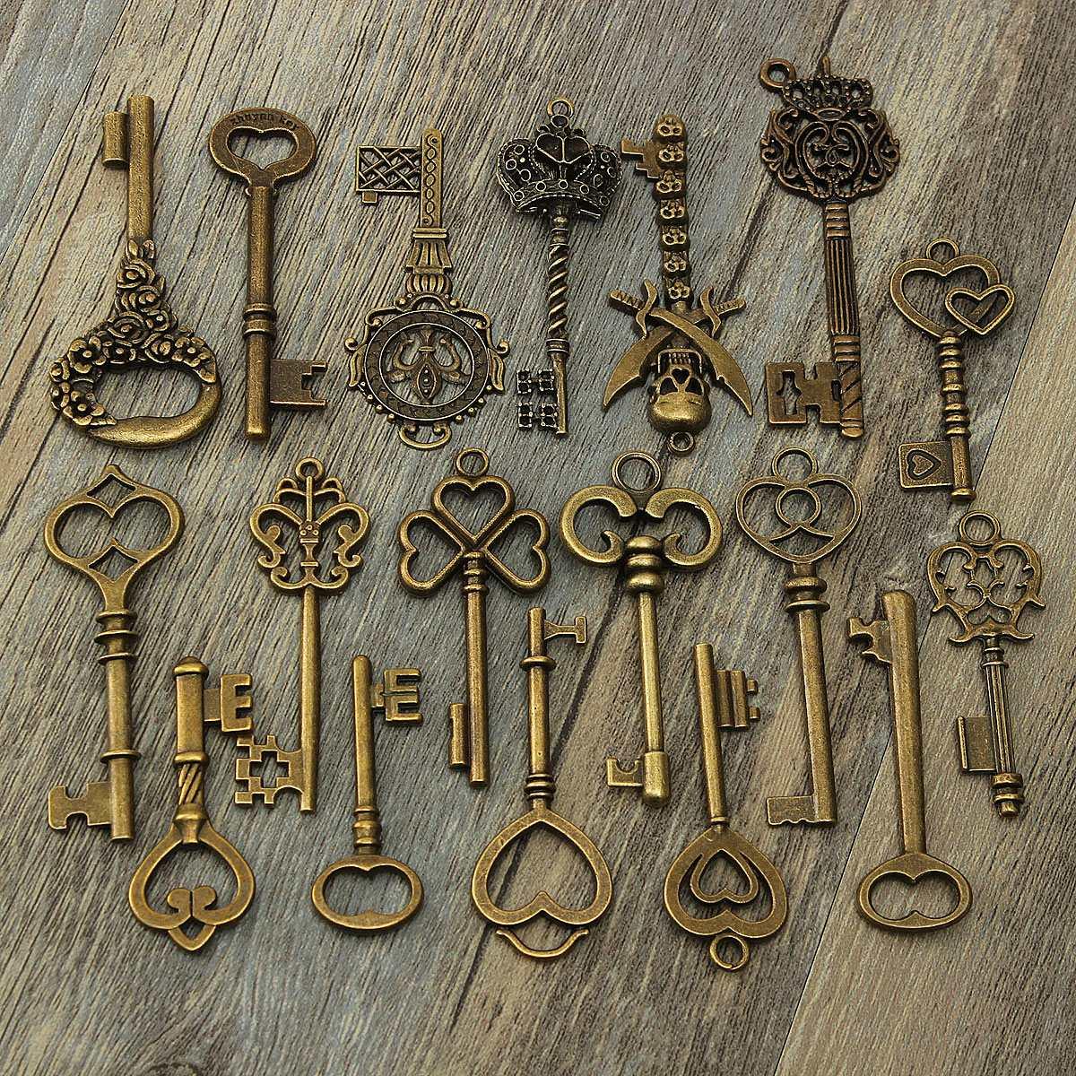Kiwarm vintage antigo bronze chaves esqueleto fantasia coração arco pingente colar pendurado decoração antigo olhar diy artesanato retro chaveiros