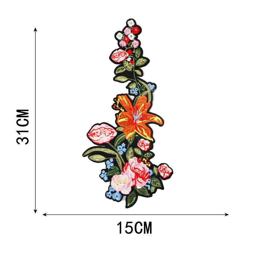 2 Chiếc Đẹp Hoa Hồng Họa Tiết Hoa Cổ Sắt Trên Miếng Dán Táo Huy Hiệu Đầm Thêu Vải Dán Handmade Thủ Công Vật Trang Trí