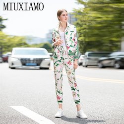 MIUXIMAO Best Quality 2019 Fall Office Lady Twinset Elegant Full Sleeve Top Luxury + Flower Print Pants Suits Women Vestido