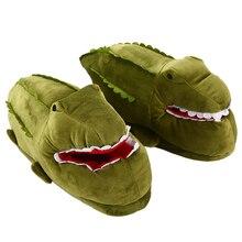 נשים יוניסקס נעלי בית חם מצחיק אנימה דגי תנין קריקטורה כבשים שטוח נעל נשי כותנה חורף קטיפה נעלי בנות