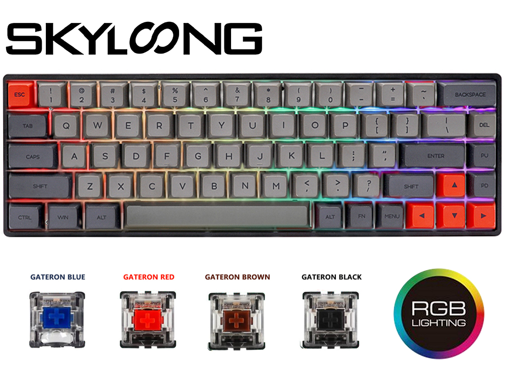 SKYLOONG SK68 Mechanical Keyboard Hot Swappable ABS Keycaps Red Brown Switch Gaming Keyboard Detachable Cable Gaming Accessories