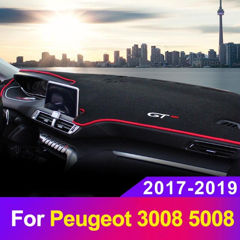 Tampa do Painel Do carro Mat Dashmat Sombra de Sol Instrumento Pad Painel Tapetes Anti-UV Para Peugeot 3008 5008 2017 2018 2019 Acessórios