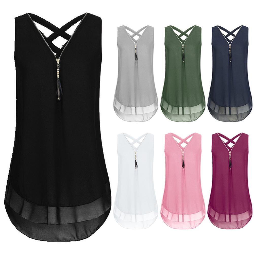 Plus Size Lady Solid Color V Neck Sleeveless Chiffon Zipper T-shirt Blouse Vest Tank Top Loose Ladies T-Shirt Tee Top