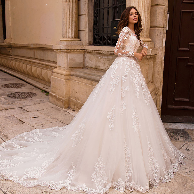 OLLYMURS 2020 Luxury Wedding Dress Long Sleeve Turtleneck Applique Lace Wedding Noble Applique Muslim Brides Support Tailor-made