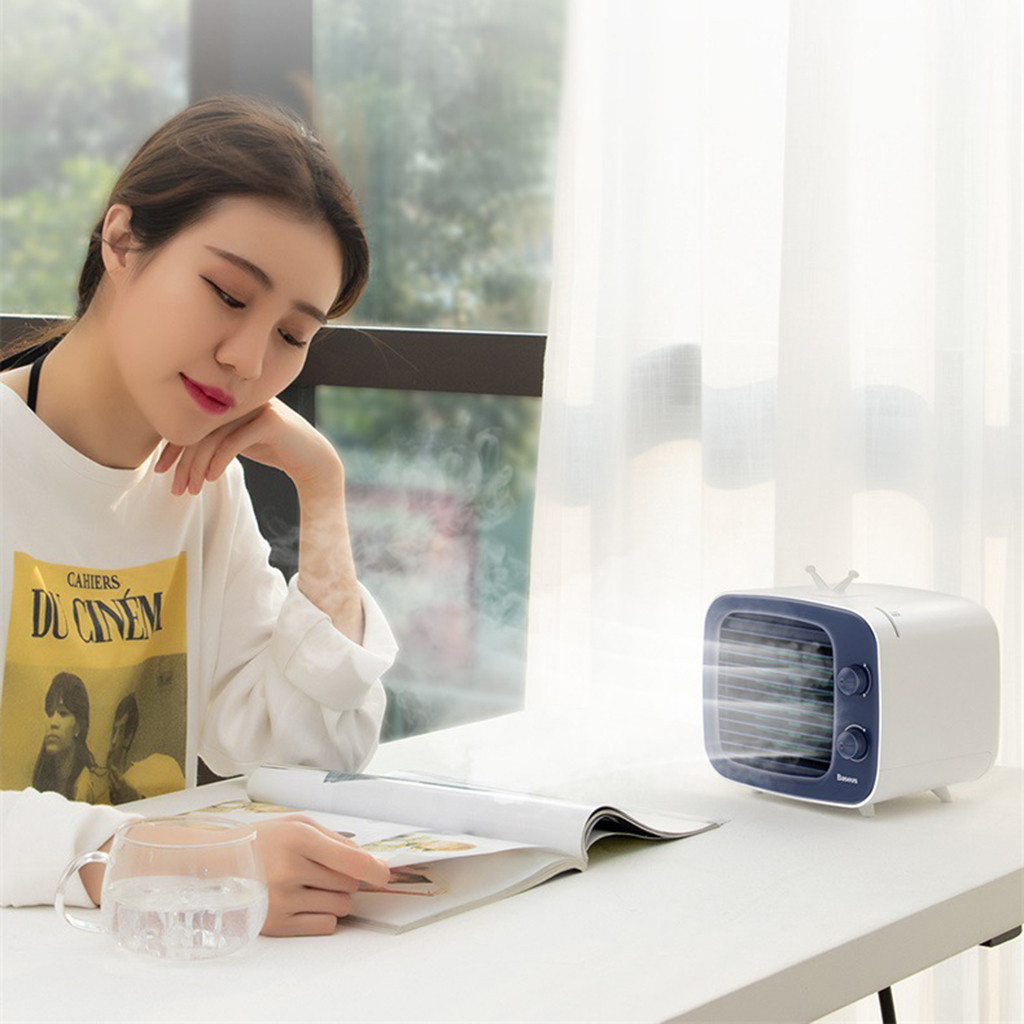 Portable Mini Air Conditioner Water Cool Cooling Fan Air Cooler Humidifier USB Office Desktop Handheld Air Conditioning Fan