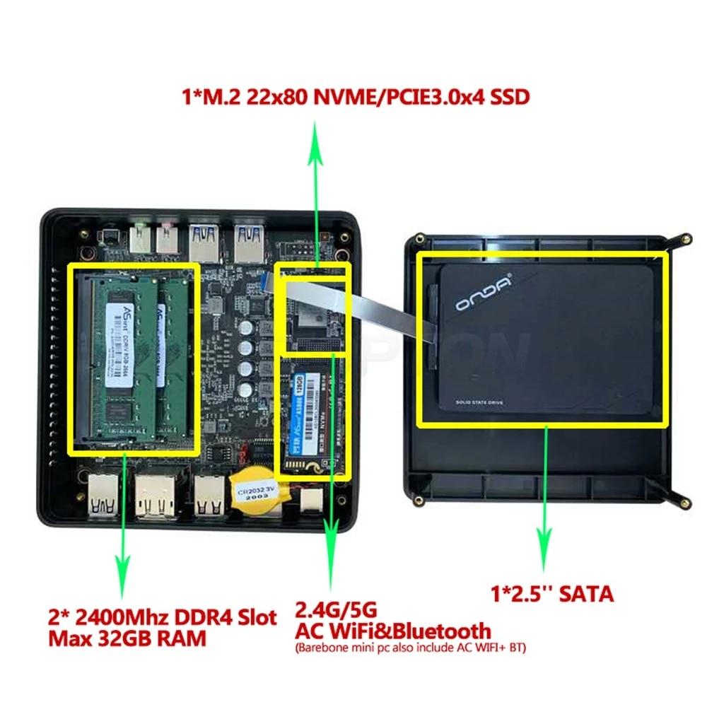 TOPTON AMD Mini PC Ryzen 7 2700U 5 3550H Athlon 3150U Vega Graphic 2*DDR4 M.2 NVMe SSD Gaming Computer Windows 10 3x4K HD WiFi 6
