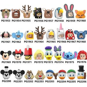 Stickers Building Blocks Cartoon Pumping Series Rabbit Toucan Sika deer Andrew Elephant Figures For Children Toys PG8223 PG8279(China)