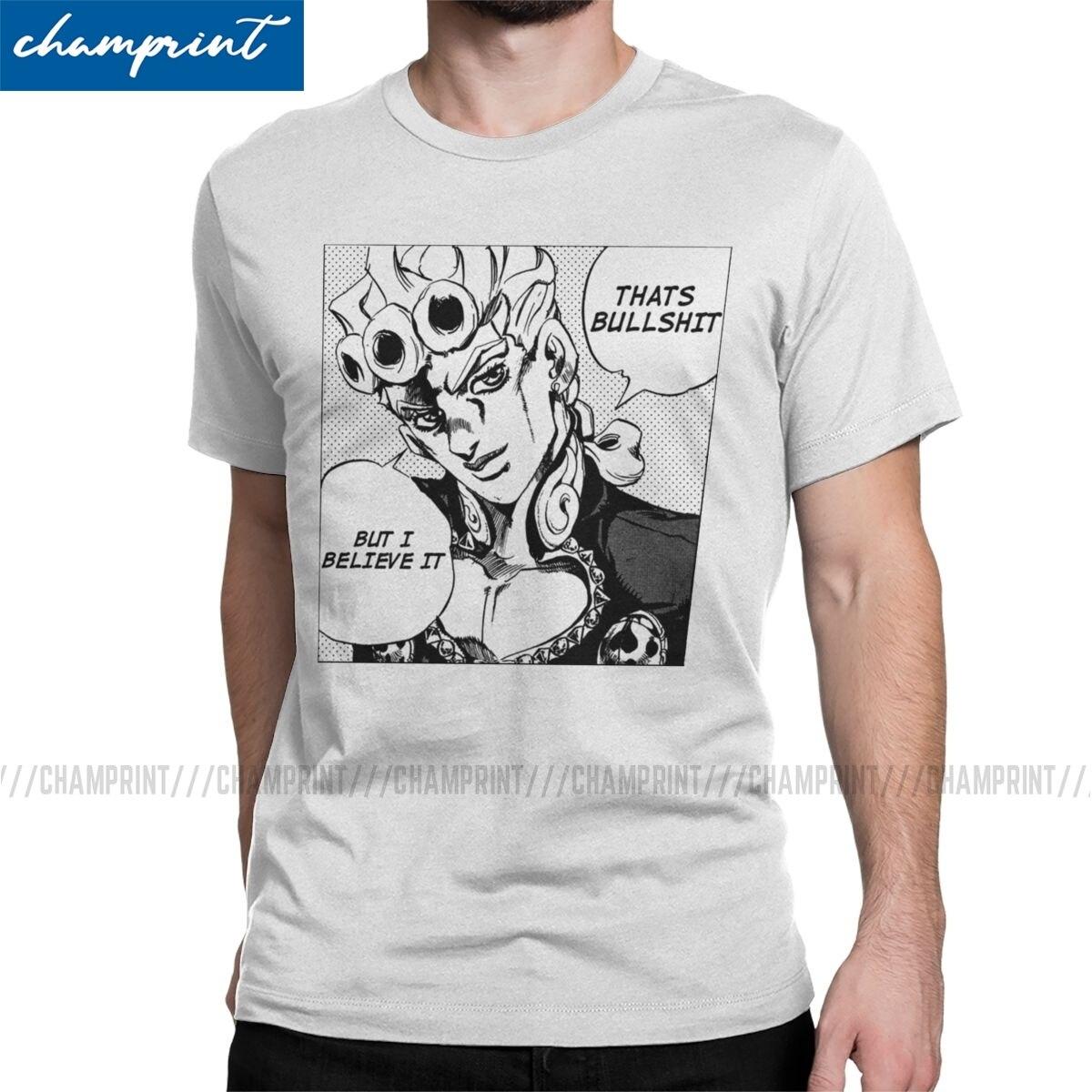 That's Bullshit T Shirts Men's Cotton Funny T-Shirts Jojos Bizarre Adventure Anime Jjba Manga Tees Short Sleeve Clothing 6XL