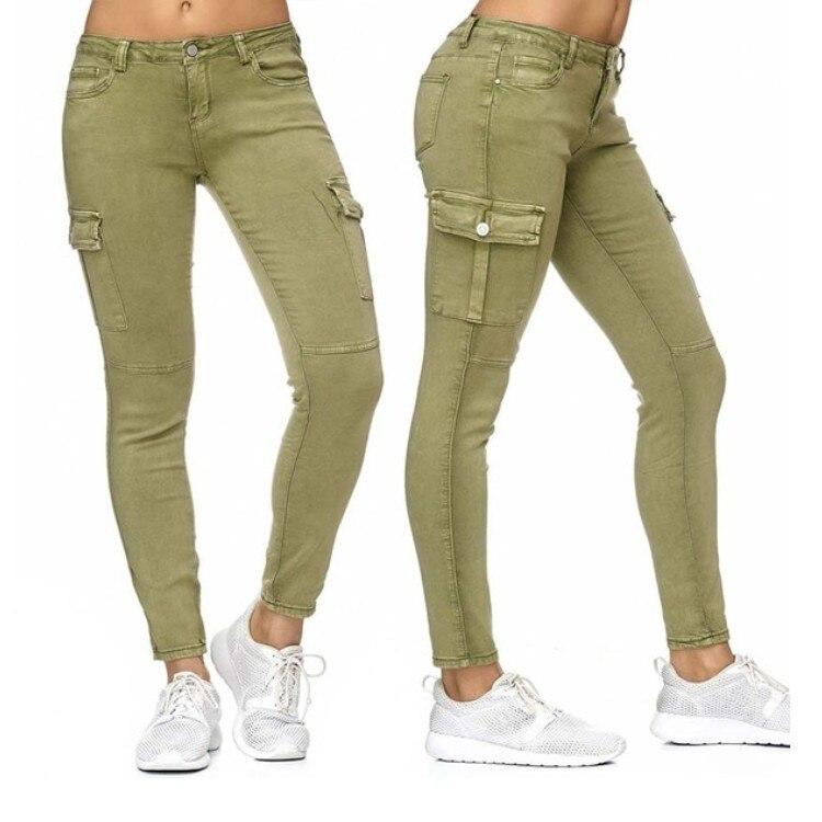 New European And American Women's Pants Tight Low-waist Denim Pants Women's Side Pocket Denim