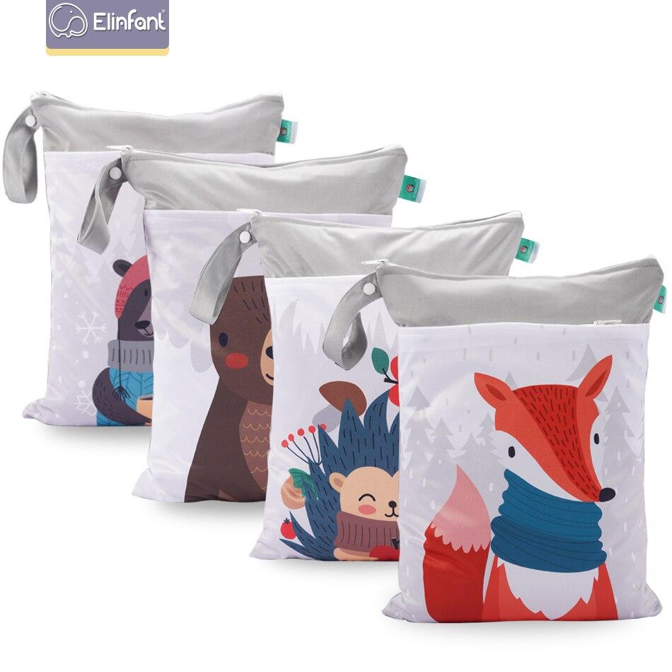 Elinfant  Digital Position Wet Bag Printed Pocket Diaper Baby Cloth Diaper Bags 30*40cm Double Pocket Travel Bag