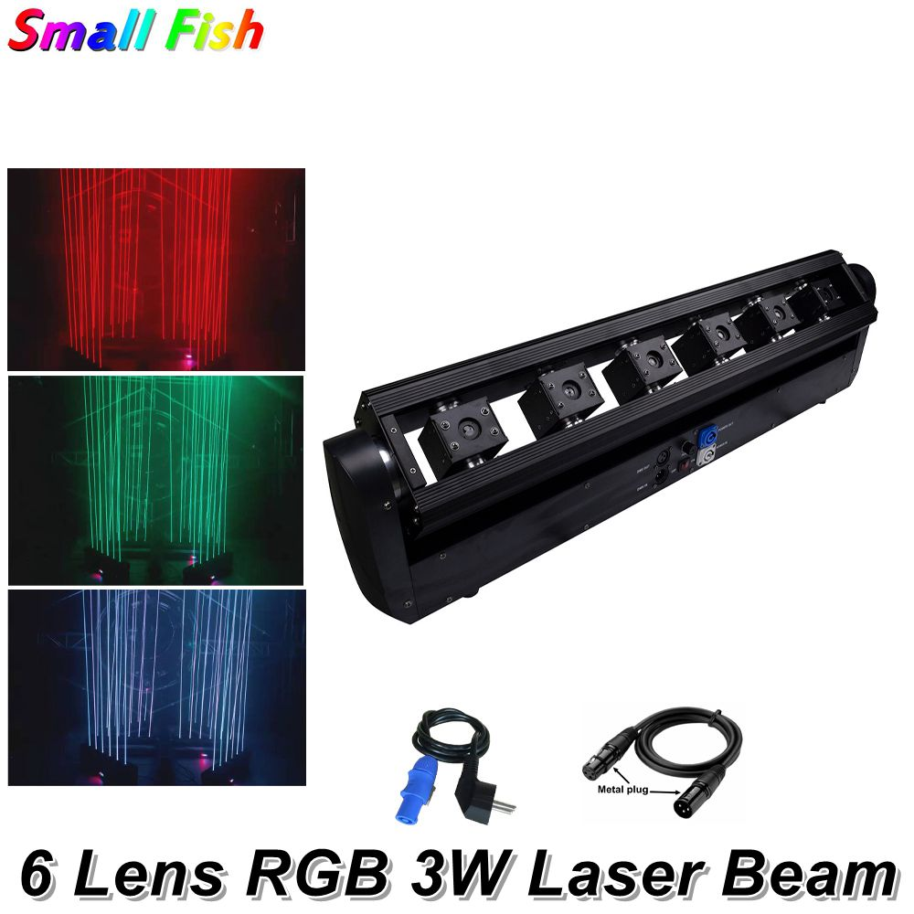 Free Shipping 2Pcs/Lot 3W RGB Full Color 6 Heads Beam Moving Head Laser Array Moving Laser Bar Wedding Stage Laser Lighting Dj
