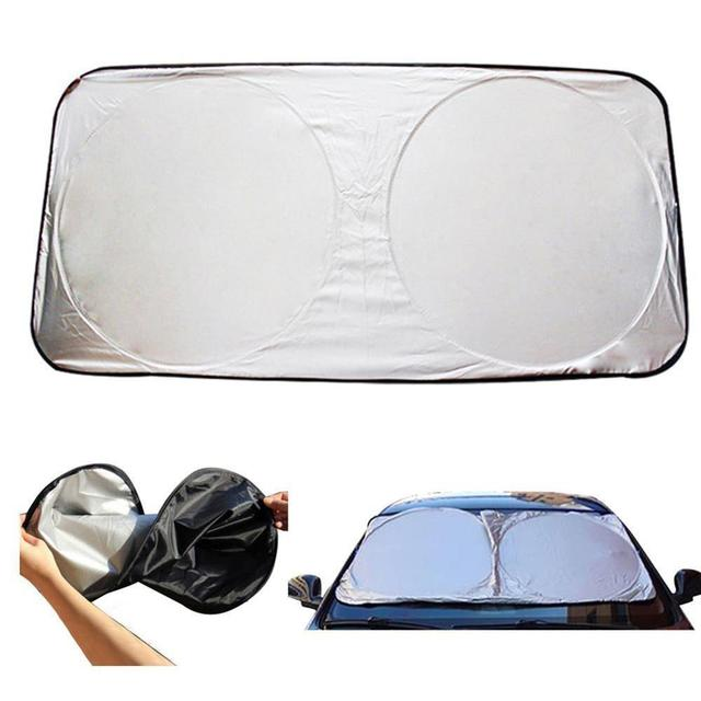 $ 6.85 Auto SunShade Windshield Silver Polyester Protector Car Front Window Sunshades Foldable Parasol Double circle 170T Print logo