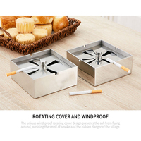 Square Stainless Steel Ashtray Creative with Cover Large Personality Sealed Living Room Office Windproof Household