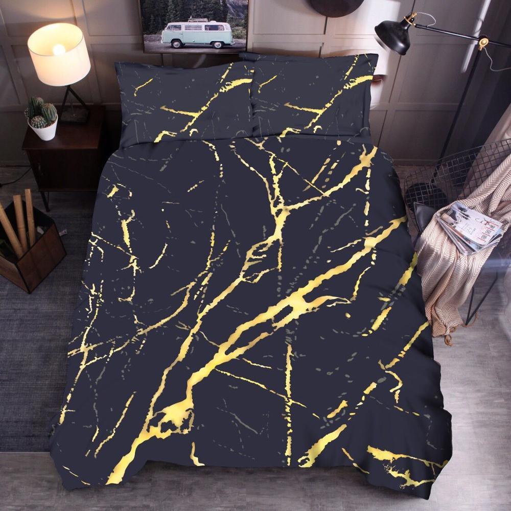 Housse de couette moderne Faux or paillettes noir marbre pierre imprimé ensemble de literie reine 2/3 pièces ensemble de housse de couette à la mode