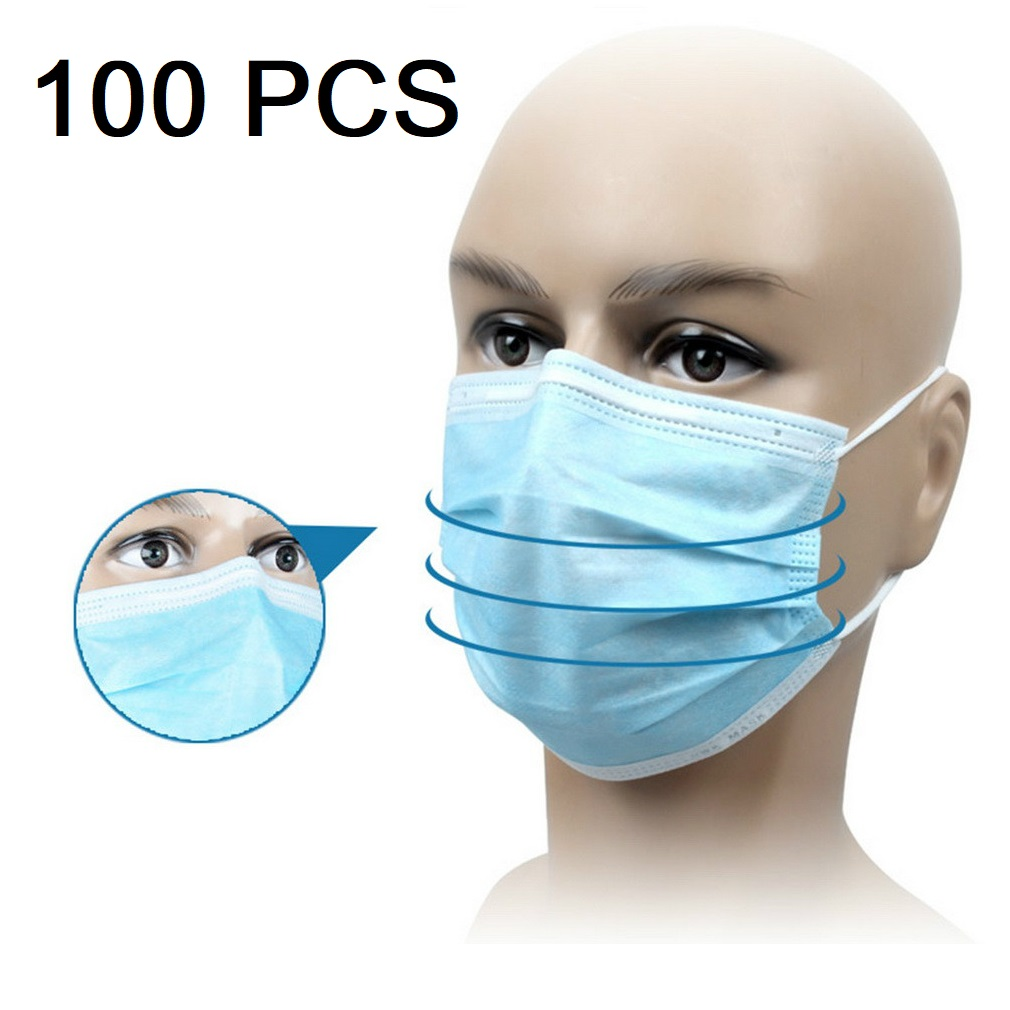 100 Pcs 3 Layers Disposable Non-woven Dust Mask Elastic Anti PM2.5 Anti Breathing Safety Masks Face Care Elastic Ear-loops