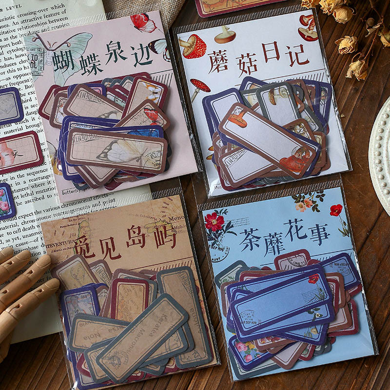 40Pcs Retro Label Stickers Kawaii Decor Handmade Stickers Paper Adhesive Sticker For Kids Scrapbooking Diary Stationery