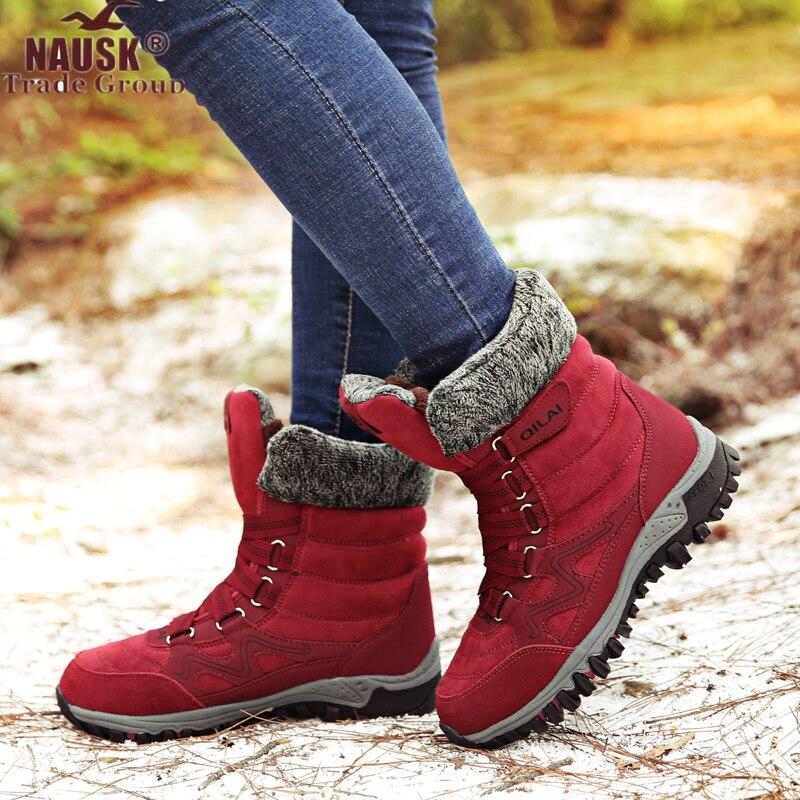 NAUSK nuevas Botas de mujer de cuero de alta calidad Botas de invierno de gamuza zapatos de mujer mantener caliente Botas de nieve impermeables Botas mujer