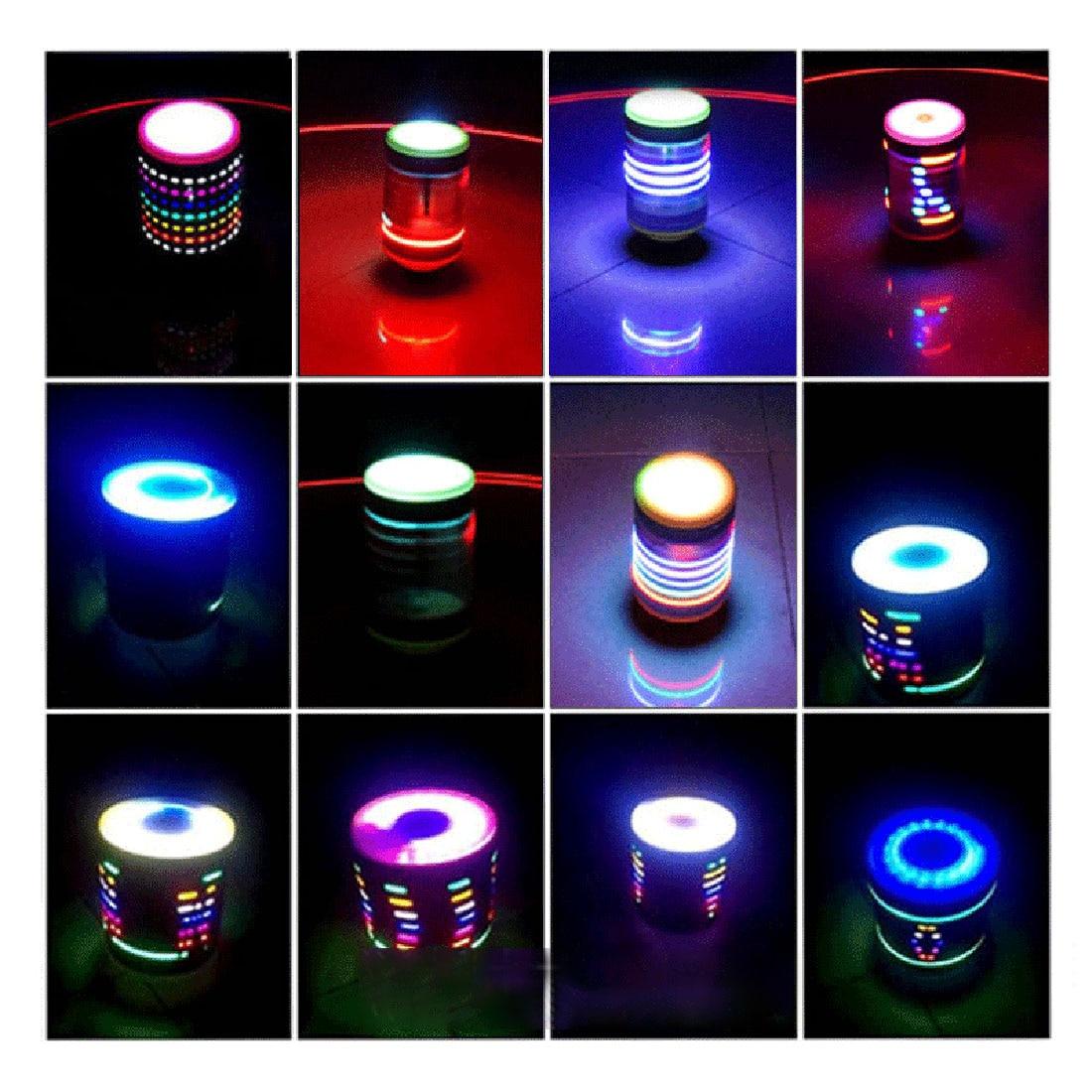Surwish 132mm/114mm/108mm/89mm (D) en acier inoxydable Fitness musique Gyro jouet avec lumières enfants enfants cadeaux de noël 2019 argent - 5