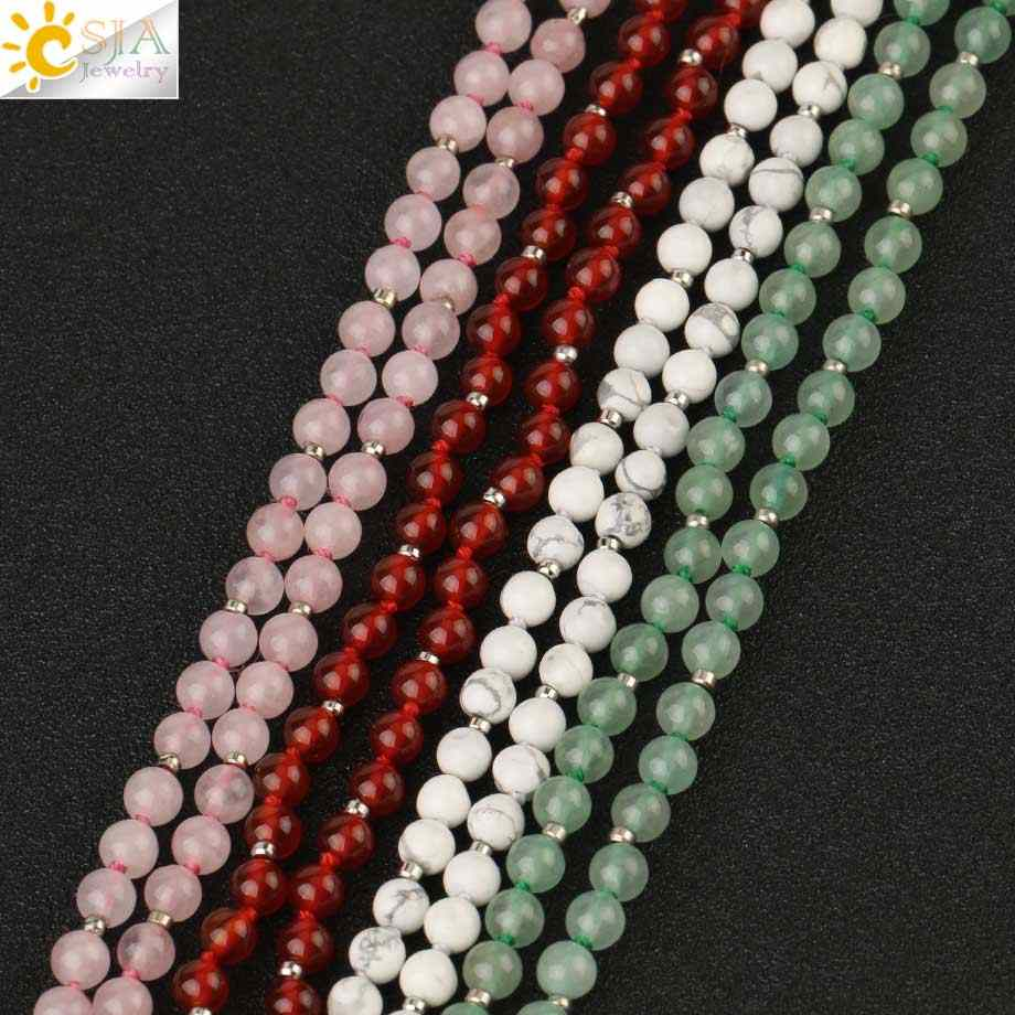 CSJA หินธรรมชาติลูกปัดสร้อยคอยาวคริสตัลสีชมพูสีเขียว Aventurine สีแดงนิล 4 มม.ลูกปัดสร้อยคอจี้ผู้หญิง g185