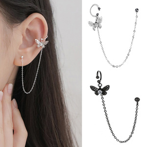 1 Pieces Crystal butterfly Ear Cuff Clip Chain Clip On Earrings for women Fashion Silver Color Jewelry New Black Earcuff Korea